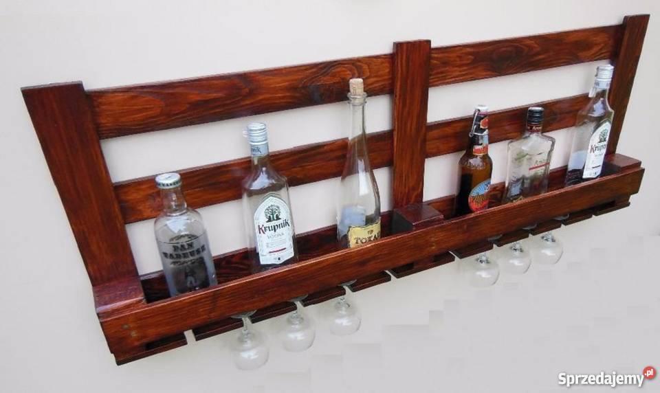 Półka Drewniana Na Wino Alkohol I Kieliszki Z Palet