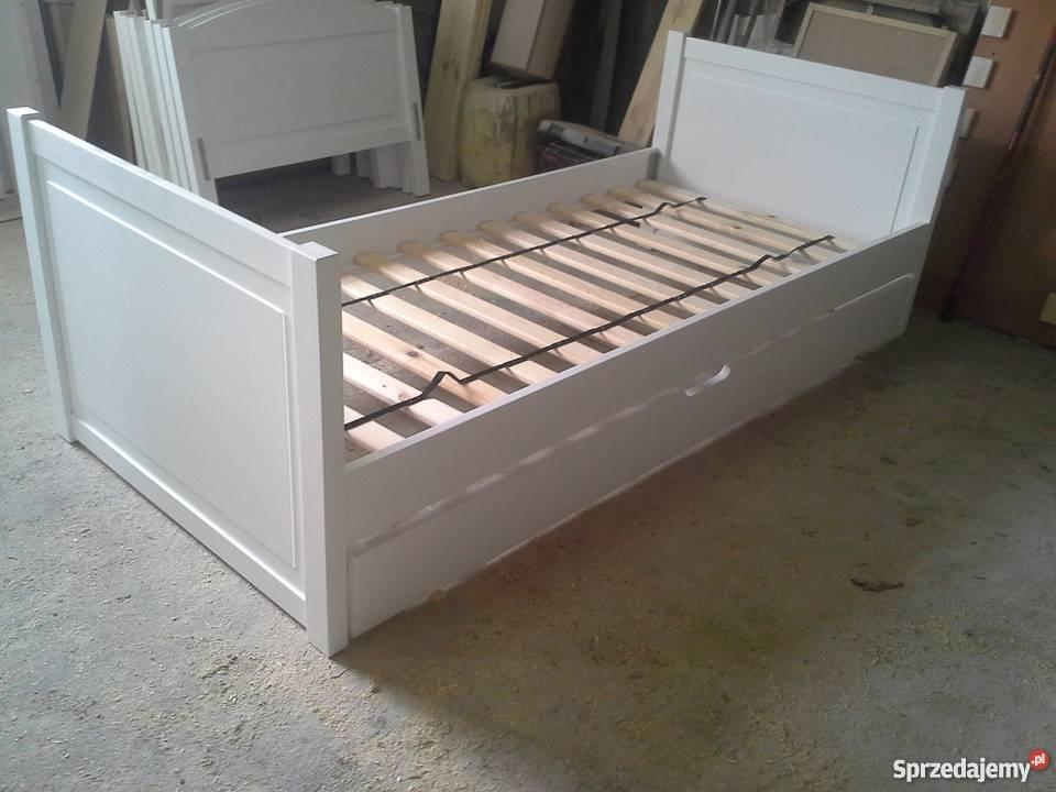 Łóżko drewniane białe dziecięce 80x160