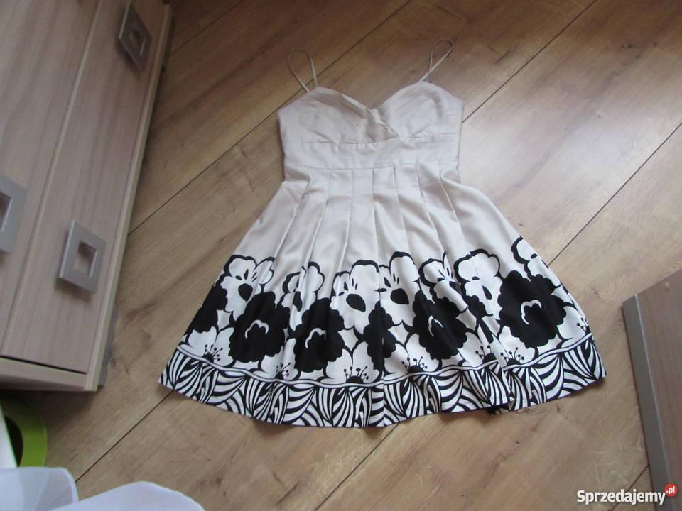 b5833859aa cudna sukienka w kwiaty kremowo czarna Wieprz - Sprzedajemy.pl