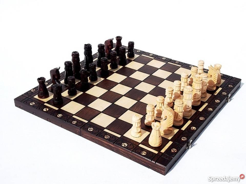 ORYGINALNE drewniane szachy ZAMKOWE 54x54 planszowe Śleszowice