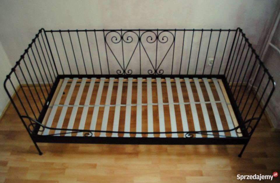 łóżko Metalowe Czarne Ikea Meldal Ze Stelażem Retro Kraków
