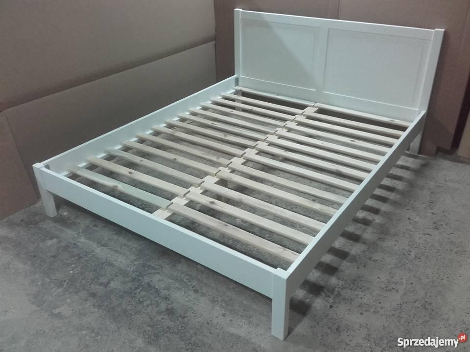 łóżko Drewniane Biale Sypialniane 140x200