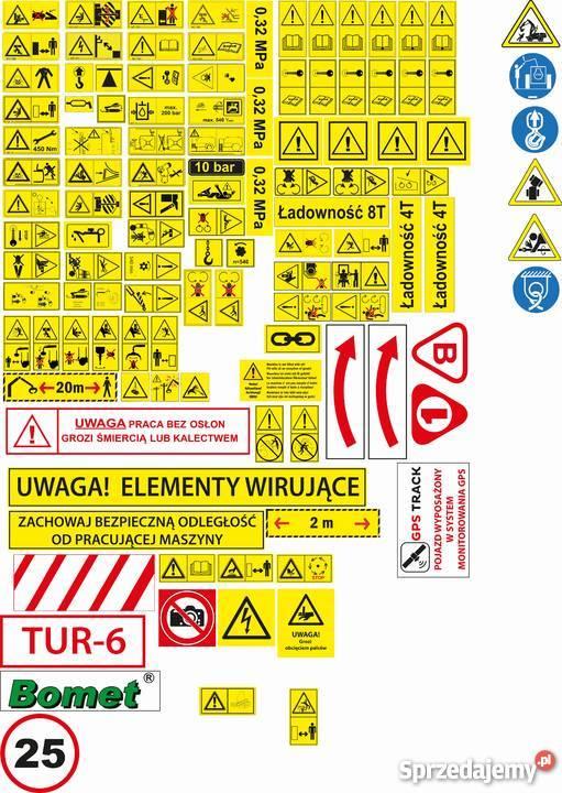 Unikalne Wszystkie naklejki na maszyny Naklejki piktogramy ostrzegawc MA78
