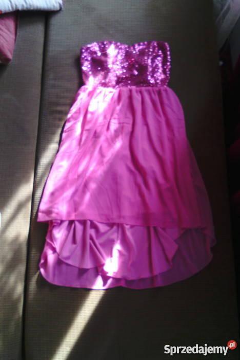 6591560660 Śliczna Różowa Sukienka Asymetryczna Bierutów - Sprzedajemy.pl