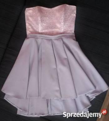 ec7ee8b597 Pudrowa sukienka pastele rozkloszowana wzory AGNES L 40 LOU Janów ...