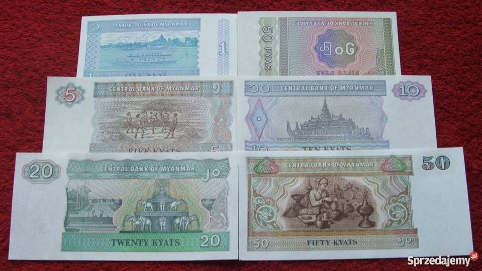 MYANMAR Kolekcjonerskie Banknoty Zestaw 6 sztuk Katowice