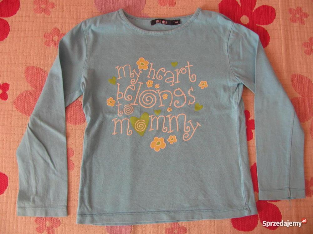 cfee1cac046359 Niebieska bluzka z napisem - rozmiar 116 - stan bardzo dobry ...