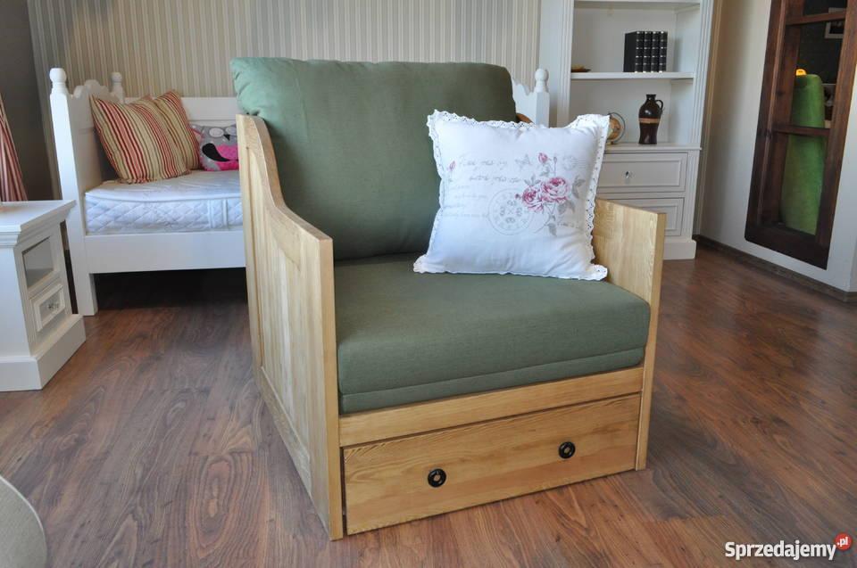 Fotel Drewniany Stylizowany Rustykalny Rozkładany