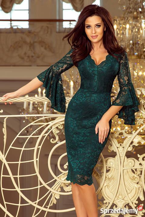 7d3aefea39 Koronkowa sukienka rozkloszowane rękawy ZIELONA S M L XL Mykanów ...