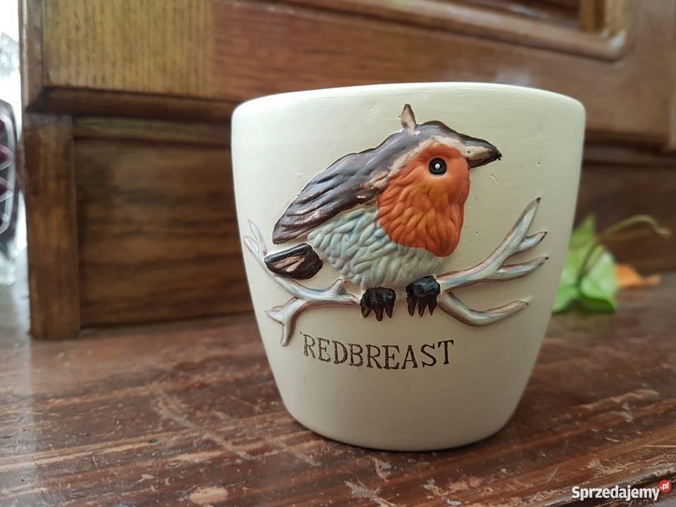 Kubeczki Doniczki Ręcznie Malowane Ceramika Piękne Ptaszek