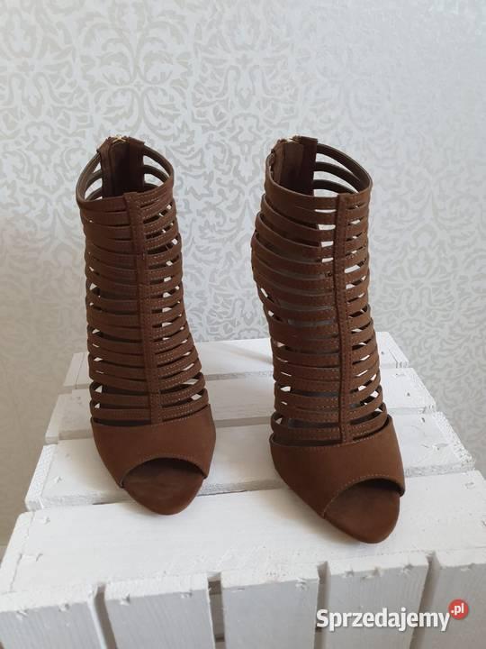 ZARA nowe botki sandały buty na obcasie czółenka paski 37