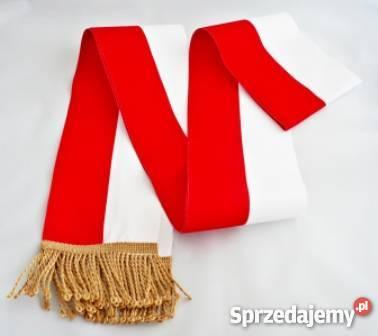 Ogromny Szarfa na poczet sztandarowy - biało-czerwona szer 10cm Sosnowiec KL91