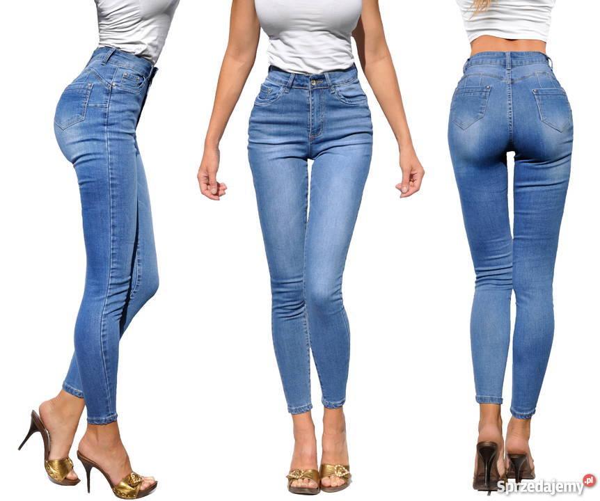 398377f1 Spodnie Damskie Jeans Mamuśki Rurki Wysoki Stan PushUP #3662