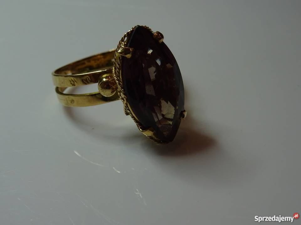 82f6e674d372b4 Złoty pierścionek ALEKSANDRYT syntetyczny STARY Warszawa sprzedam