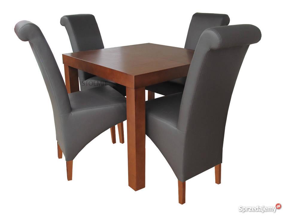 Kwadratowy Stół Rozkładany 80x80 90x90 Z 4 Krzesła Kraków