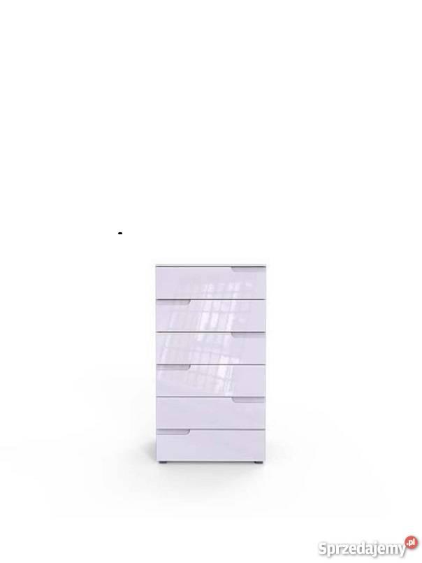 SELENE 3 - nowoczesna biała komoda z sześcioma szufladami