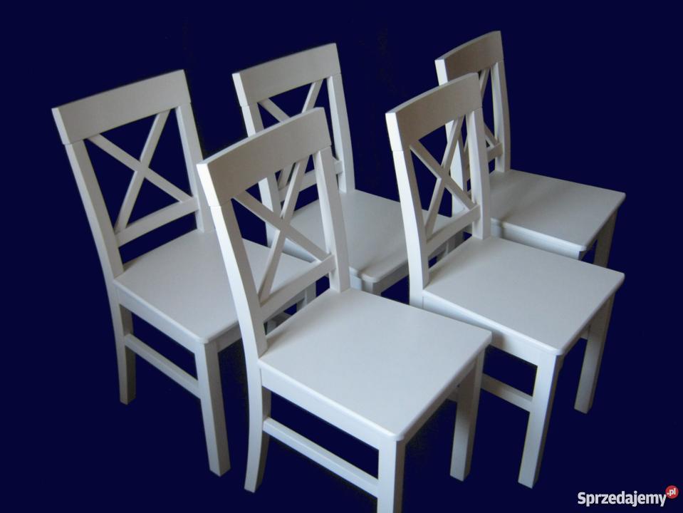 Białe drewniane krzesło bukowe, styl Prowansja, SUPER CENA