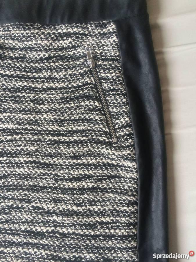 Spódnica obcisła wstawki latex zipy skórzana S nowa