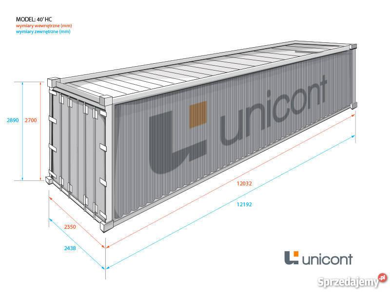 Magazynowy kontener morski 40HC 12 m podwyższany Malbork