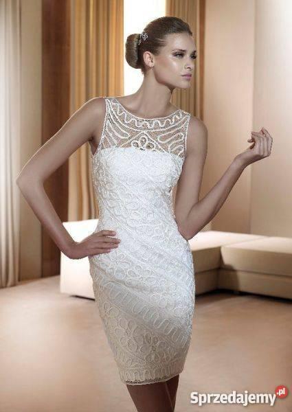 Ogromnie Krótka sukienka Pronovias Foro 38 M ślub koktajlowa bankie HD64