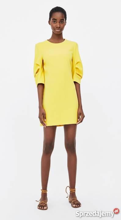 bd3743d7a8 ZARA prosta żółta sukienka z zakładkami na Spódnice i sukienki Warszawa