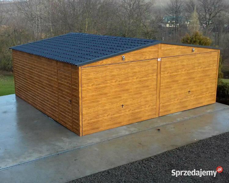 Garaż Blaszany Drewnopodobny 6x5 Garaze Blaszane Złoty Dąb