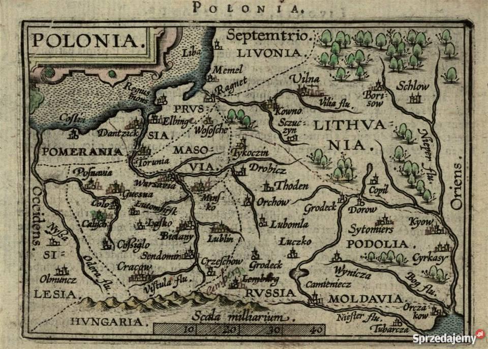 Ogromny POLSKA XVII w. reprint map 40x30 cm do wystroju wnętrz Warszawa TA05