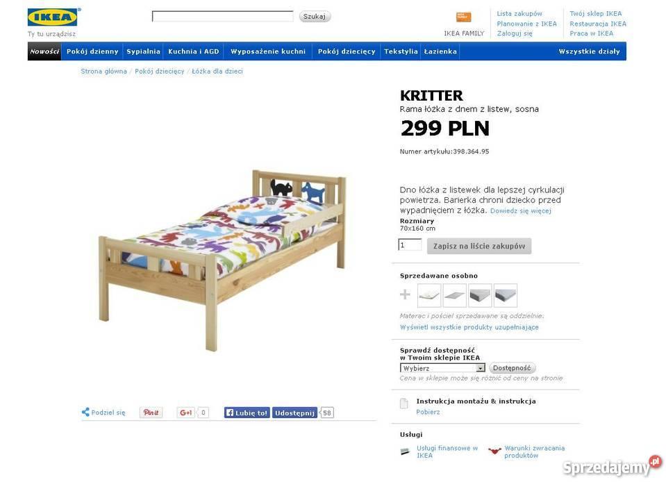Sprzedam łóżko Dziecięce 70 X 160 Ikea