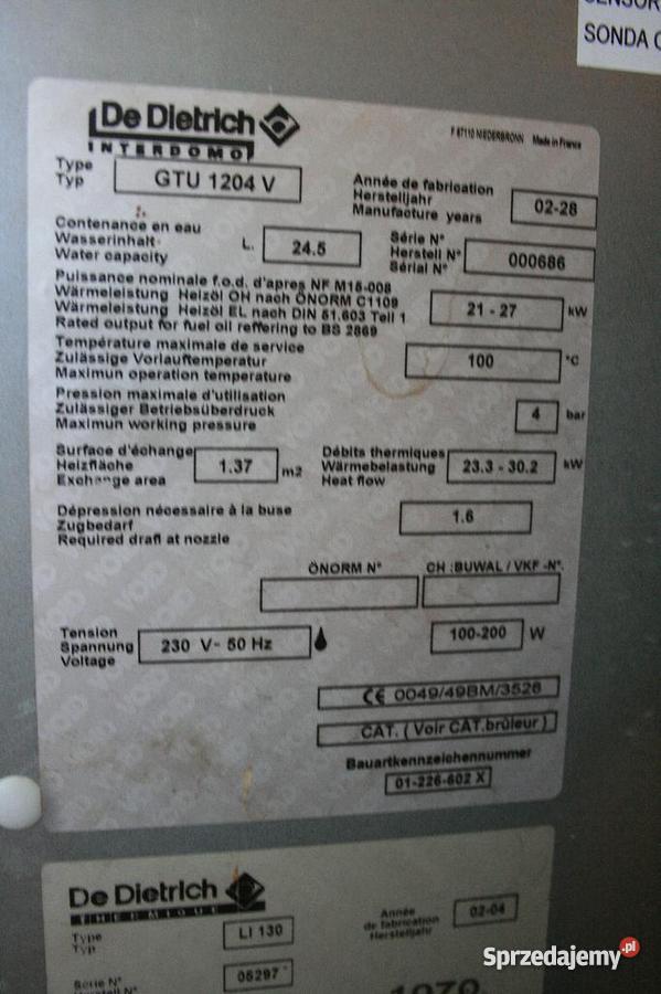 De Dietrich piec olejowy GTU 1204 V 27 kW ERSV13 mazowieckie Zagościniec