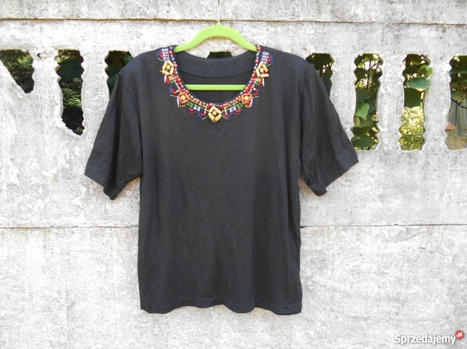Czarna Bluzka 40 L XL ozdobiony dekolt