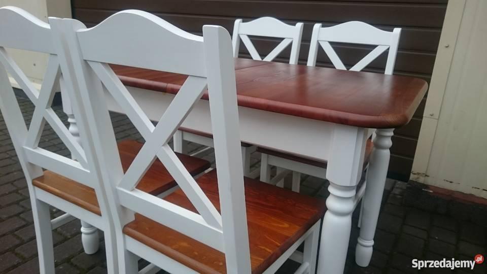 Skandynawskie prowansalskie krzesło krzyżak białe modne nowe