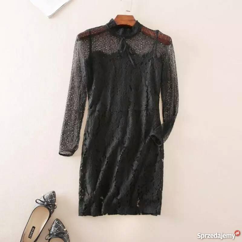 Mała czarna, sukienka koronkowa ZARA jak nowa