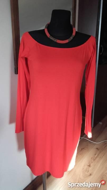 czerwona sukienka Asos długi rękaw śląskie Sosnowiec