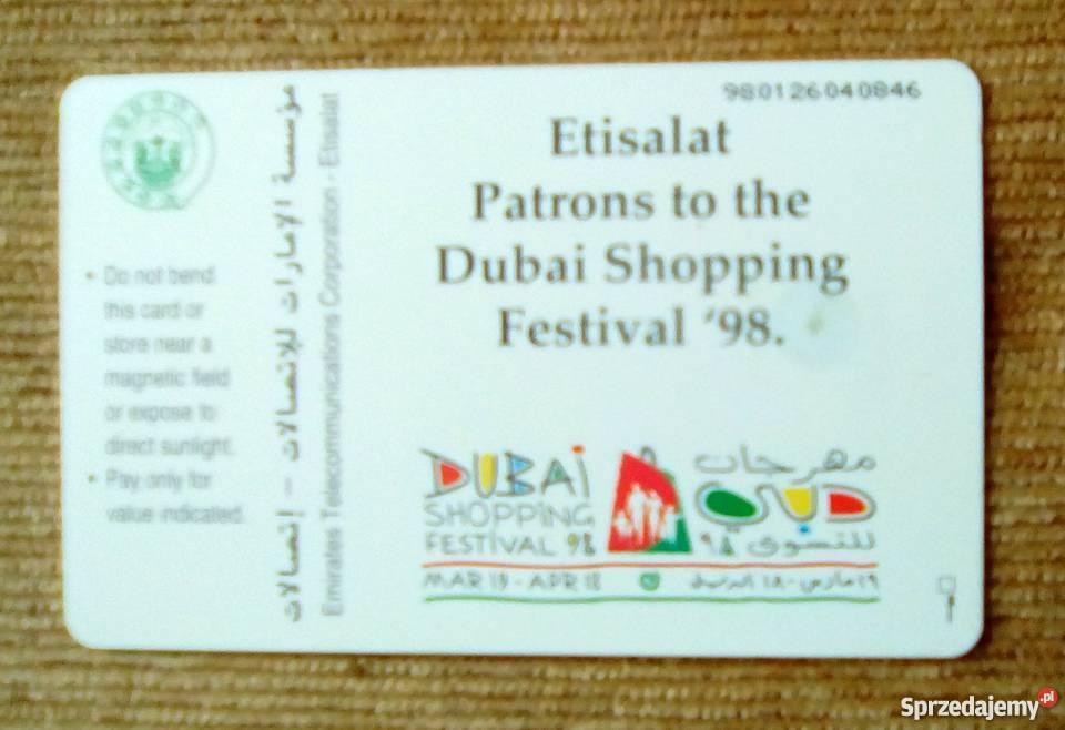 DUBAI SHOPPING FESTIVAL 98 Pocztówki i karty telefoniczne Piszczac