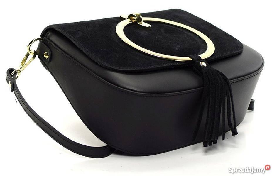 441c4ff920b46 Włoska listonoszka torebka z kołem czarny Dla kobiet Torby i torebki Rzeszów