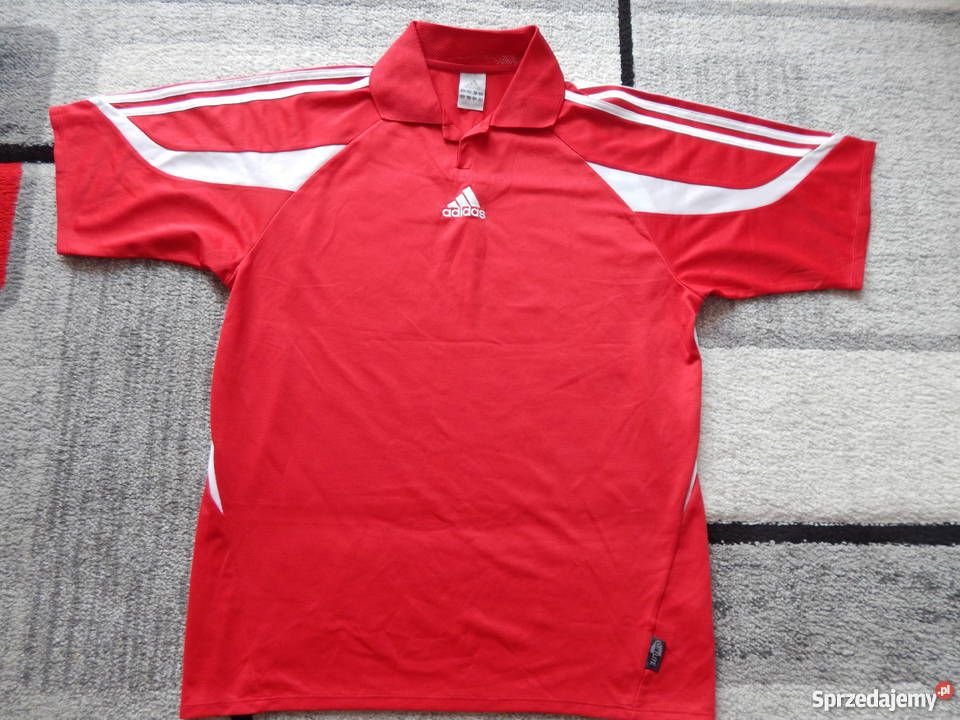 sportowa odzież sportowa kod promocyjny tani Adidas koszulka polo kr.rękaw biało-czerwona, jak nowa, STAN