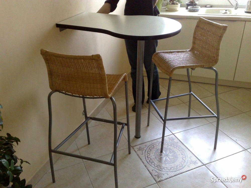Stolik Barowy I Dwa Krzesła Barowe Do Kuchni