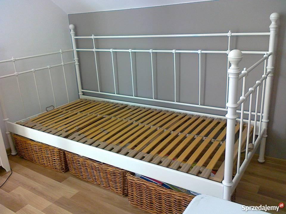łóżkorama Metalowa Biała90x200 Materacstelażdno łóżkab