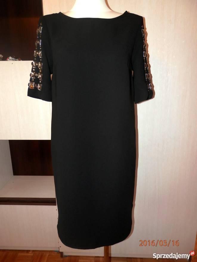 c8b6d08b Sukienka Czarna Pudełkowa Zdobione Rękawy Hit by UK 40