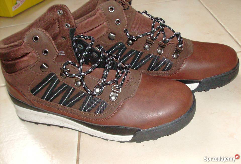 RESERVED skórzane męskie brązowe buty botki skóra r.44