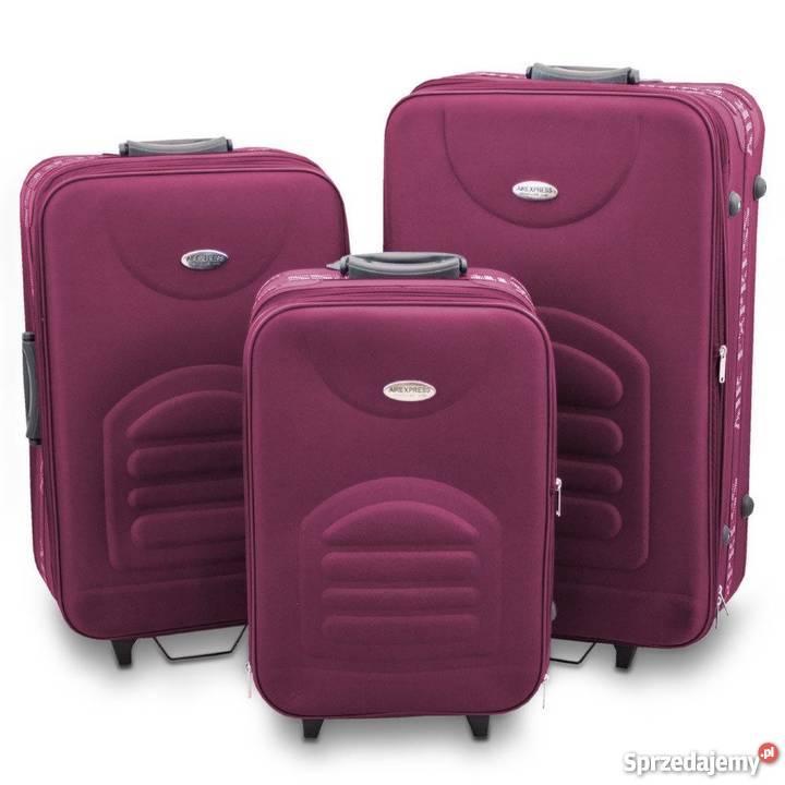 4c42e34dad336 SET Walizka walizki materiałowa bordo lekka PREZENT NAŚWIĘTA ...