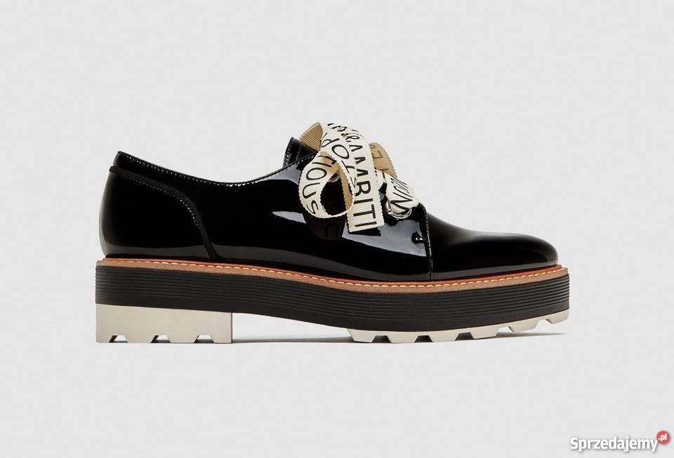 bfa2f76906591 ZARA buty derby lakierowane sznurowane 41 Warszawa - Sprzedajemy.pl