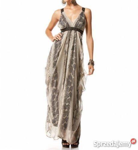 bb2478c821 piękna sukienka boho Bebe Lionesse USA XSS szary srebrny Spódnice i sukienki  małopolskie