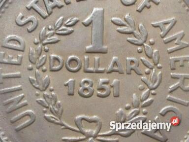 SREBRNA MONETA 1 DOLAR 1851 dolnośląskie Oława