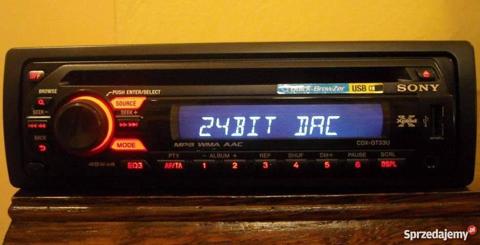 Najnowsze Radio Sony X-Plod CDX-GT33U Aux USB CD/MP3/WMA 4x45 MOSFET Tychy HG78