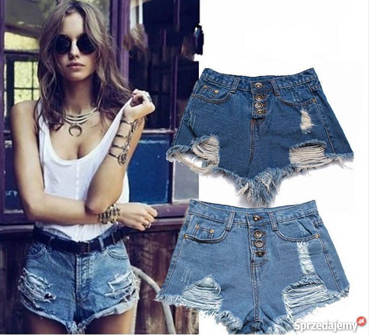 ad455bdc krótkie szorty spodenki jeansowe wysoki stan 36 s