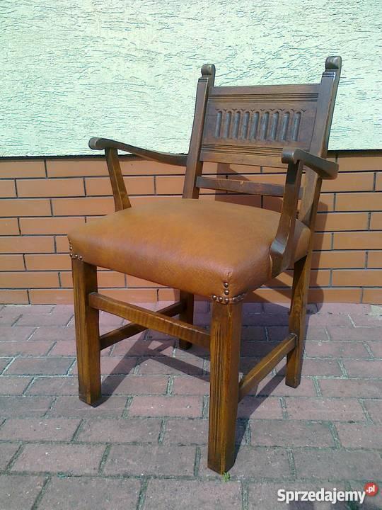 Krzesło drewniane ze skórzaną tapicerką, solidne