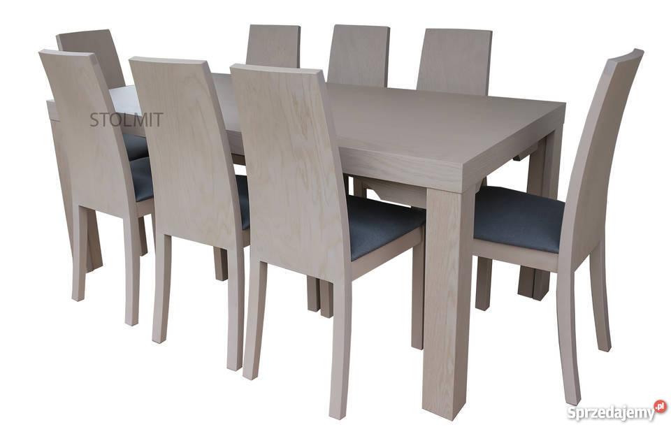 Dębowy stół rozkładany typu 8 nóg + 8 krzeseł milano dąb