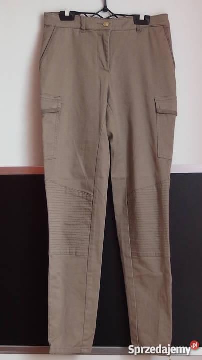 295c8c1ff1a3d beżowe spodnie rurki h m xs 34 bojówki kieszenie po bokach Toruń ...