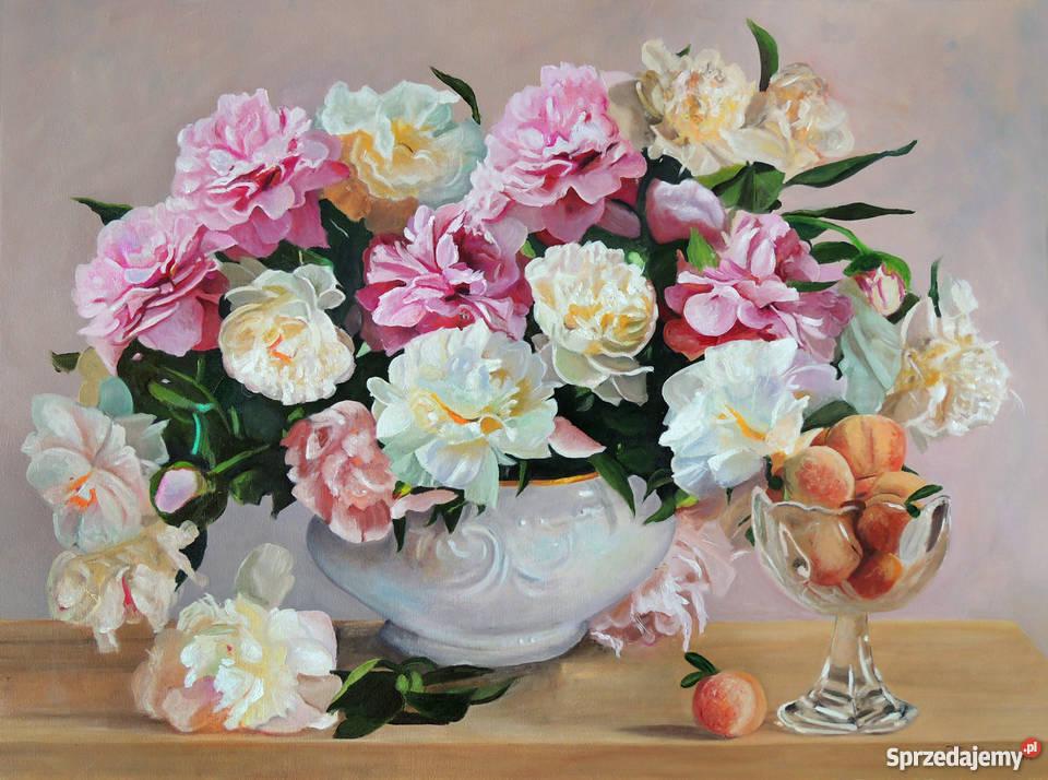 Obraz olejny kwiaty peonie piwonie z ramą Tomasz Łódź